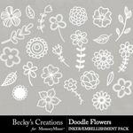 Doodle Flowers Embellishment Pack-$2.99 (Becky's Creations)