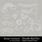 Doodle Kid Fun Embellishment Pack-$2.10 (Becky's Creations)