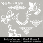 Floral Shapes 2 Embellishment Pack-$2.10 (Becky's Creations)