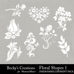 Floral Shapes 1 Embellishment Pack-$2.10 (Becky's Creations)