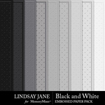 Black and White LJ Embossed Paper Pack-$2.49 (Lindsay Jane)