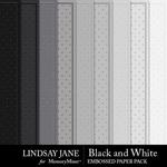 Black and White LJ Embossed Paper Pack-$1.75 (Lindsay Jane)