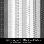 Black and White LJ Pattern Paper Pack-$1.75 (Lindsay Jane)