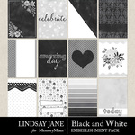 Black and White LJ Journal Cards Pack-$2.49 (Lindsay Jane)