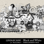 Black and White LJ Embellishment Pack-$3.49 (Lindsay Jane)