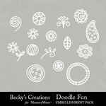 Doodle Fun Embellishment Pack-$2.10 (Becky's Creations)