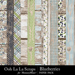 Blueberries Worn Wood Papers-$2.49 (Ooh La La Scraps)