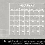 2020 Calendar Template Pack-$4.99 (Becky's Creations)
