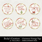 Christmas Vintage Tags Pack-$1.75 (Becky's Creations)