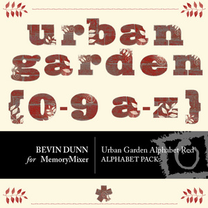 Urban garden alphabet red medium