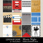 Movie Night LJ Journal Cards Pack-$2.49 (Lindsay Jane)