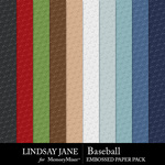 Baseball LJ Embossed Paper Pack-$2.49 (Lindsay Jane)