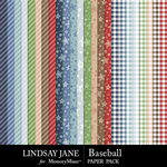 Baseball LJ Pattern Paper Pack-$2.49 (Lindsay Jane)