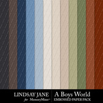 A Boys World Embossed Paper Pack-$2.49 (Lindsay Jane)