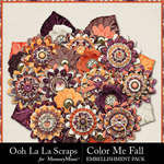 Color Me Fall Flowers Pack-$2.49 (Ooh La La Scraps)