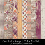 Color Me Fall Worn Wood Paper Pack-$2.49 (Ooh La La Scraps)