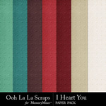 I Heart You OLL Embossed Paper Pack-$2.49 (Ooh La La Scraps)