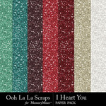I Heart You OLL Glitter Paper Pack-$2.49 (Ooh La La Scraps)