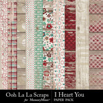 I Heart You OLL Worn Wood Paper Pack-$2.49 (Ooh La La Scraps)