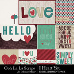 I Heart You OLL Pocket Cards Pack-$2.49 (Ooh La La Scraps)