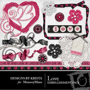 Love embellishments medium