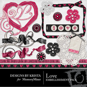 Love embellishments medium