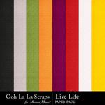 Live Life Embossed Paper Pack-$2.99 (Ooh La La Scraps)