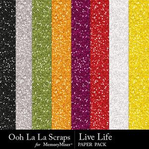 Live life glitter papers medium