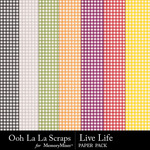 Live life gingham papers small