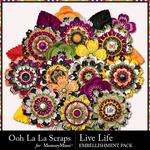 Live Life Flower Embellishment Pack-$2.99 (Ooh La La Scraps)