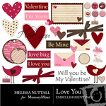 Love You Embellishment Pack-$3.50 (Melissa Nuttall)