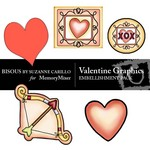 Valentine Graphics Embellishment Pack-$1.99 (Bisous By Suzanne Carillo)