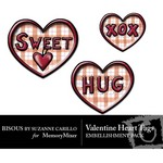 Valentine Heart Tags Embellishment Pack-$1.49 (Bisous By Suzanne Carillo)