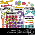 Color of Life Embellishment Pack-$3.00 (Julie Klaus)