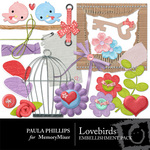 LoveBirds Embellishment Pack-$3.00 (Paula Phillips)