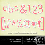 Child of My Child Coral Alphabet Pack-$1.00 (Ettes and Company by Fayette)