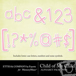 Child of My Child Pink Alphabet Pack-$1.00 (Ettes and Company by Fayette)
