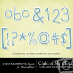 Child of My Child Teal Alphabet Pack-$1.00 (Ettes and Company by Fayette)