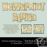 Tall Dark and Handsome Newsprint Alphabet Pack-$0.99 (Ettes and Company by Fayette)