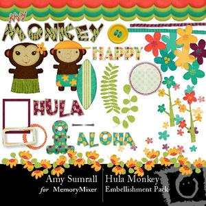 Hula monkey emb medium