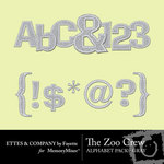 The Zoo Crew Gray Alphabet Pack-$0.99 (Ettes and Company by Fayette)