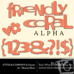 TWFAF Friendly Coral Alphabet Pack-$1.00 (Ettes and Company by Fayette)