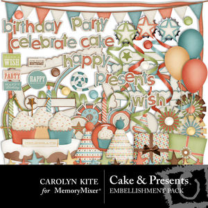 Cake and presents emb medium