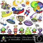 Aliens Space Race Embellishment Pack-$3.00 (Tara Reed Designs)