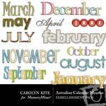 Australian Calendar Months Embellishment Pack-$1.00 (Carolyn Kite)