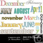 United States Calendar Months Embellishment Pack-$2.99 (Carolyn Kite)