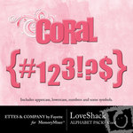 Love Shack Coral Alphabet Pack-$0.99 (Ettes and Company by Fayette)