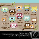 Owl Friends Embellishment Pack-$1.99 (Ettes and Company by Annette)