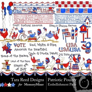 Patriotic poultry emb medium
