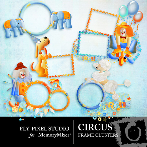 Circus Frame Cluster Pack Scrapbook Page Design - MemoryMixer™
